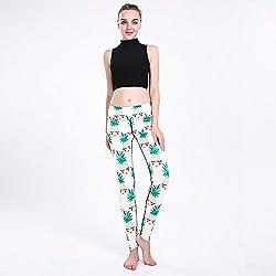 YUJIAGE Pantalones De Yoga 3D Impresión De Piña Deportes De La Cadera Respirable Súper Elásticos De Secado Rápido Damas Puntos,S