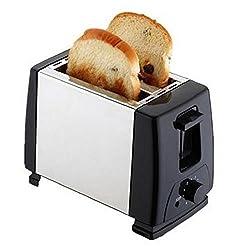 DHYANI ENTERPRISE Electric Toaster Waffle Maker Electrical Grill Automatic Sandwich Breadmaker 2 Slices Breakfast Maker EU Plug Free - Silver,Black