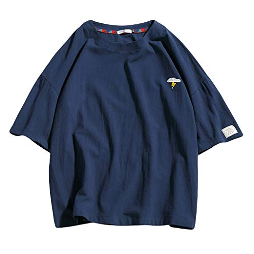 T Shirt Männer,Herren Sommer Casual Pure Color Kurzarm Baumwolle und Hanf T-Shirt Tops Grundlegendes T-Shirt Fitness Shirt Herren Tops Streetwear Sweatshirts