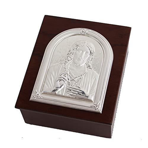 Dlm27281 scatola svuotatasche portagioie in legno cristo cofanetto portaconfetti bomboniera
