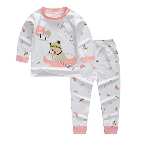 Baby Jungen Mädchen Baumwolle Fleece Pyjamas, Meedot Cute Cartoon Print Longjohns Unterwäsche Set für 0-5 Jahre Alt Kinder Boating Bear 100cm (Jungen Fleece Pyjama-hosen)