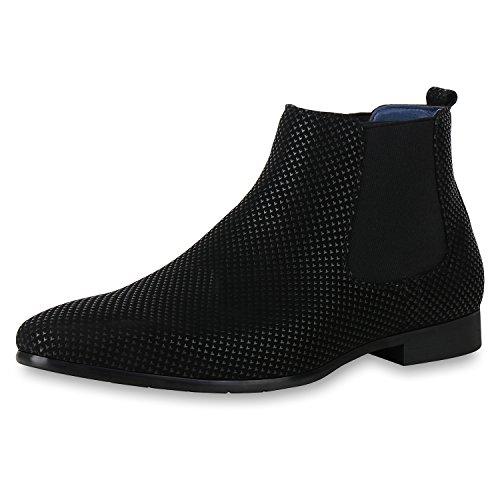 SCARPE VITA Herren Chelsea Boots Prints Profil Sohle Leder-Optik Schuhe 161072 Schwarz Prints 40