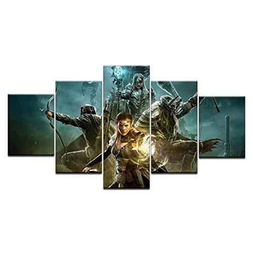 chgznb Leinwanddrucke 5 Panel Spiel Elder Scrolls Online Poster Hauptwanddekor Leinwandbild Kunst Hd Druck Auf Leinwand Für Wohnzimmer Drucke auf Leinwand -