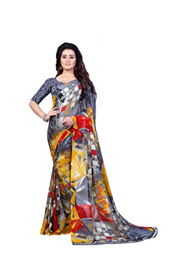 Anand Sarees Georgette Saree With Blouse Piece (1344_Multi-coloured_One Size)