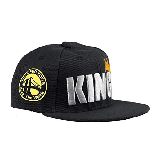 WangsCanis Unisex Kindermützen Baseballkappe Alphabet Stickerei KÖNIG Hut Kappen Sonnenhut für 1-4 Jahre Jungen Mädchen (Schwarz, Einheitsgröße)