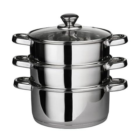 Premier Housewares Stainless Steel Food Steamer with Glass Lid, 22 cm Diameter - Silver