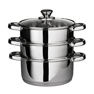 Premier Housewares Stainless Steel Steamer with Glass Lid, 22 cm