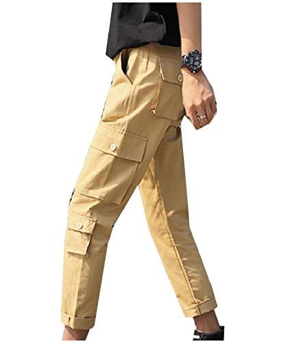 CuteRose Men's Pure Color Multi-Pockets Slim-Tapered Soft Tactical Pants Khaki L