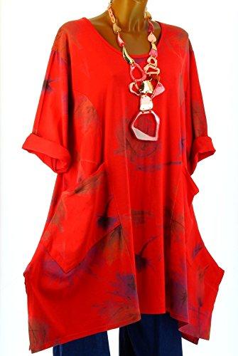 Charleselie94® - Tunique longue grande taille bohème rouge SERENA ROUGE Rouge