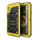 Beeasy Coque pour iPhone XS Antichoc,Étanche Protecteur d'Écran Intégré Qualité Militaire Robuste Résistant Metal IP68 Antipoussière Anti Pluie Étui pour Le Travail,Housse d'Extérieur, Jaune
