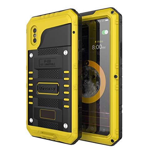 Beeasy Hülle Kompatibel mit iPhone XS/X, [Wasserdicht] Outdoor Handy Case Stoßfest Militärstandard Schutzhülle mit Displayschutz Waterproof Metall Schutz vor Stürzen Stößen Heavy Duty Handyhülle,Gelb