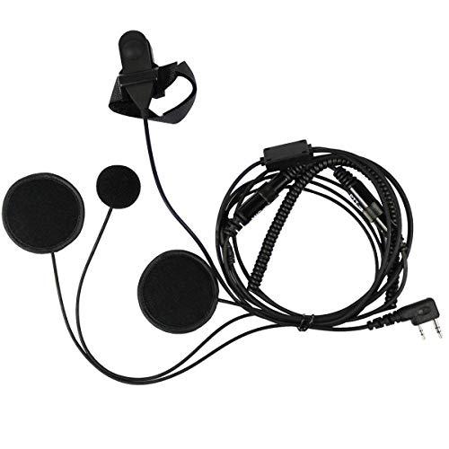 Eidoct 2-poliges Motorradhelm-Headset für Kenwood BaoFeng WouXun PuXing Linton Zwei-Wege-Radio, Walkie-Talkie
