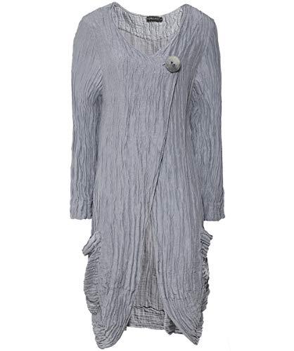 a0971e1e368 Grizas Women s Linen and Silk Blend Button Detail Crinkled Jacket L Light  Grey