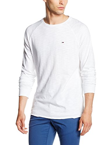 Hilfiger Denim Herren Langarmshirt Thdm Cn Knit L/S 9 Weiß (CLASSIC WHITE 100)