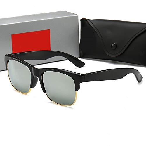 Unisex Retro Sonnenbrille for Männer Fashion Glass Half Frame Sunglasses, (Farbe : Silver)