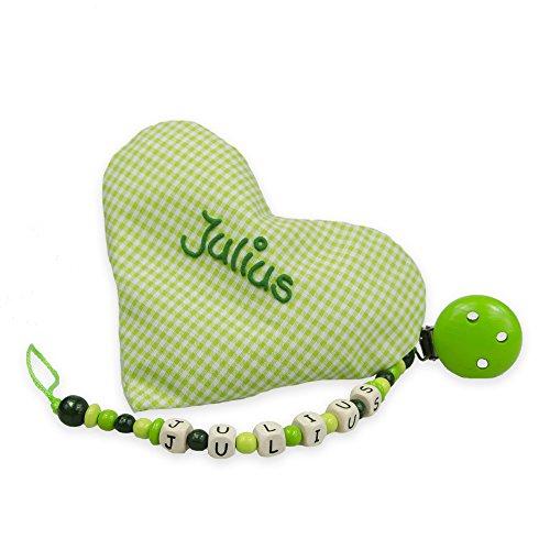 Grünes Baby Geschenkset 2-teilig mit Namen, aus Wärmekissen und Schnullerkette Geschenk zur Geburt, Taufgeschenke für Jungen und Mädchen