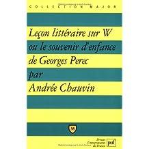 Leçon littéraire sur W ou le souvenir d'enfance de Georges Perec