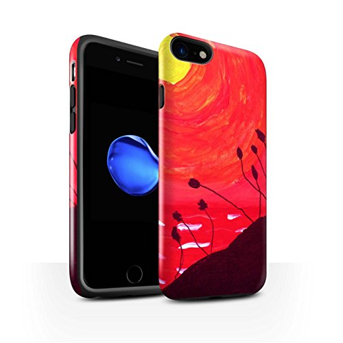STUFF4 Glanz Harten Stoßfest Hülle / Case für Apple iPhone 8 / Gelb Muster / Sonnenuntergang Ölgemälde Kollektion Rot