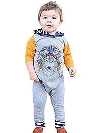 Ropa de Primavera 2019,Subfamily Camisas para bebés niño/Mono con Capucha Estampado Lobo