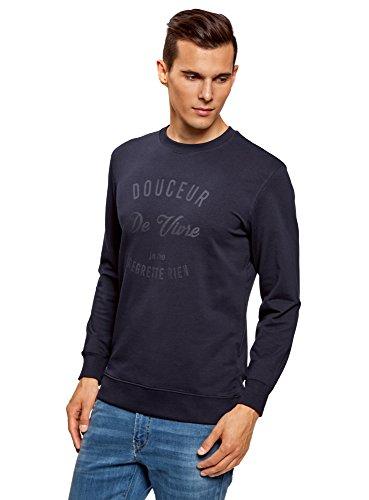 oodji Ultra Herren Gerade Geschnittenes Sweatshirt mit Schriftzug Blau (7979P)