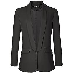 Urban GoCo Femme Veste De Tailleur Courte Casual Slim OL Blazer Blouson Costume d'affaires (XX-Large, Noir)