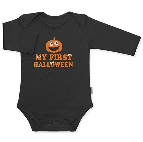 Kürbis Pumpkin My First Halloween Süsses Motiv Baby Langarm Body 18M Schwarz
