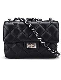 0fa2f5d6945de Handtasche Damen klein elegant Vintage Clutch für Abendgarderobe  Abendtasche aus Kunstleder mit integriertem Geldbeutel Schwarz