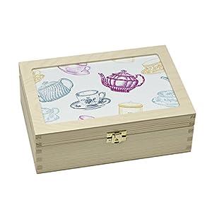 Contento 866386 Tasse et Théière Boîte à Thé Bois Multicolore 23,5 x 16,5 x 9 cm