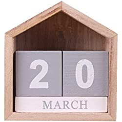 hangnuo hecho a mano Creative diseño de casa de madera calendario perpetuo calendario de escritorio artesanía decoración del hogar