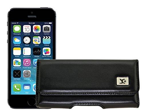 Original SunCase Quertasche für / iPhone SE / Horizontal Tasche Ledertasche Handytasche Etui mit Gürtelschlaufe* in braun Schwarz