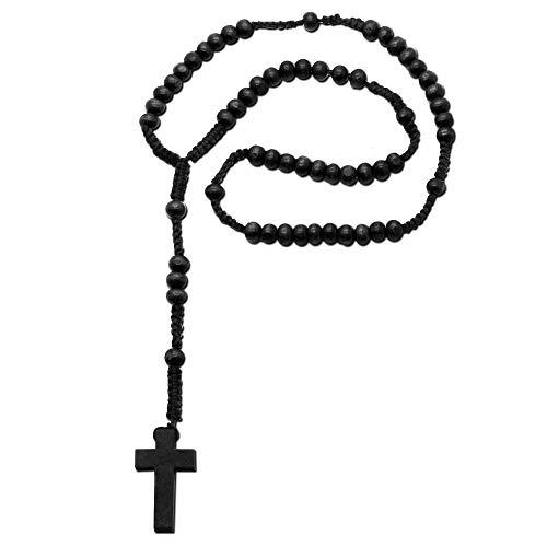tumundo 1 Rosenkranz Halskette Kette Kreuz Jesus Holzperlen Braun Schwarz 55cm Kruzifix Herrenkette Kugelkette Gebetskette, Modell:schwarz