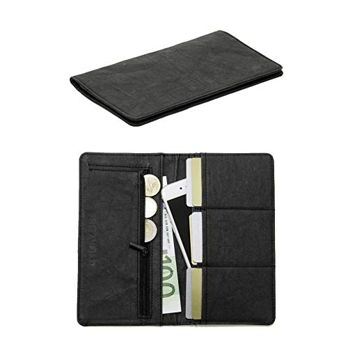 FRITZVOLD Clutch Wallet, RFID-Schutz & großes Münzfach, Ultra dünnes Damen-Portemonnaie, extrem Flacher Damen-Geldbeutel, Portmonee lang, Damen-Geldbörse aus waschbarem Papier-Kunstleder, schwarz -
