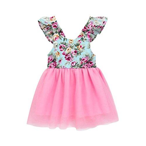 MML Baby Girls Floral Dress Toddler Summer Party Ball Gown Lace Flying Sleeve Flower Print Patchwork Mesh Tutu Formal Skirt Dress Sundress
