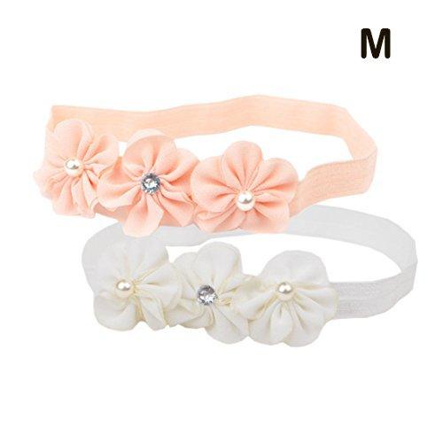 Jolieer 2 Stück Süßes Baby beautful flower headband Mädchen Kinder Prinzessin Stretch Stirnbänder Babygeschenke Taufe Geschenksets (M – für 6 Monate-4 Jahre alt)