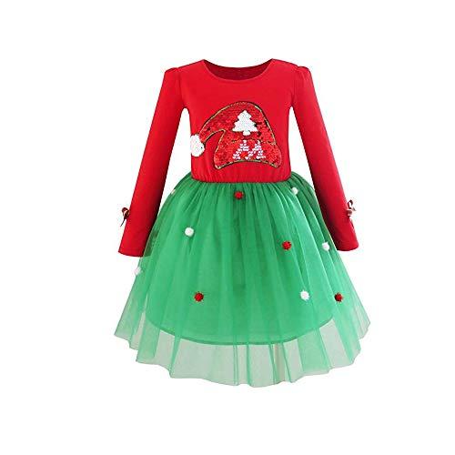 Chennie Kleinkind mädchen Kleid Weihnachten Santa Hut Langarm Party Tutu Dress Anzug (Color : As Show, Size : 1-2T)