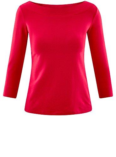 oodji Collection Damen T-Shirt mit 3/4-Arm Rosa (4D00N)