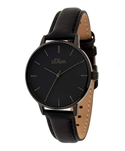 s.Oliver Damen-Armbanduhr Analog Quarz Leder (Schwarz/Schwarz)