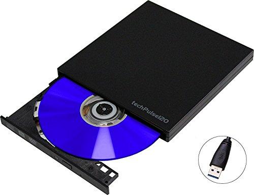 techPulse120 DVDRW Brenner externer CD Rom Laufwerk Ultraslim Black Superdrive portable Laufwerk DVD CDRW für Computer PC Notebook Ultrabook Netbook Laptop Windows Mac OS Apple iMAC Macbook Pro Air