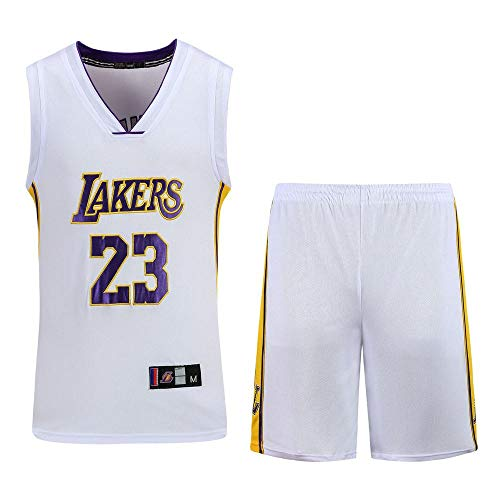 NBA Basketball Jersey NBA Lebron James Basketball-Anzug Nr. 23 Retro Basketball Shorts Basketball-Jersey Aus Neuem Stoff NBA Männer T-Shirt (Jersey White Lebron James)