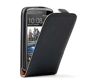 Membrane - Ultra Slim Schwarz Tasche Hülle HTC Desire 500 (Desire 500 Dual Sim) - Flip Case Cover + 2 Displayschutzfolie