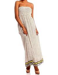 Hippie Maxikleid Bandeau Chiffonkleid trägerloses Sommerkleid