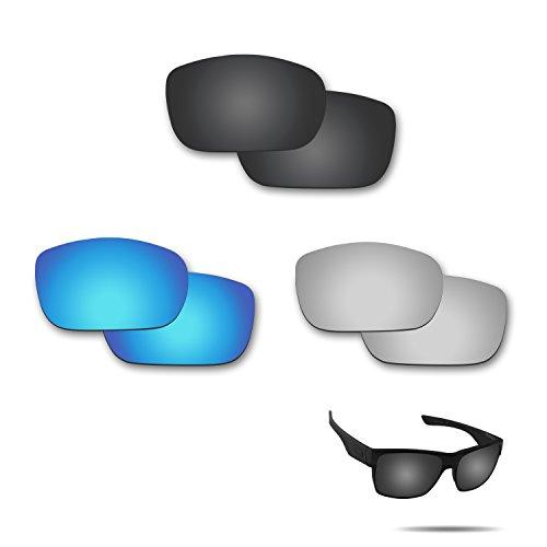 Fiskr Anti-Saltwater Polarisierte Ersatz Gläser für Oakley Twoface Sonnenbrille 3Paar Pack, Stealth Black & Metallic Silver & Ice Blue