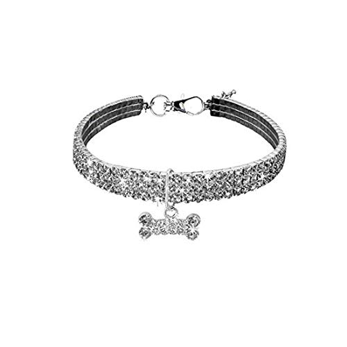 MINI CUTE Halskette für Kleine Hunde Mädchen Wakeu Strass Bling Halsbänder mit Knochen Anhänger -