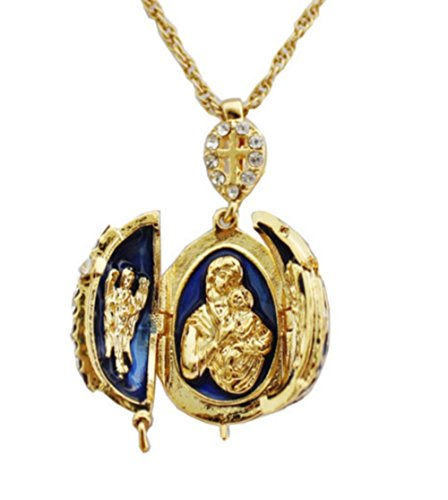 Fabergé Egg Opening Blue Orthodox Cross Pendant with for sale  Delivered anywhere in UK