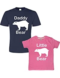 Edward Sinclair Father's Day Navy & Bubblegum t-Shirt Set For Father and Daughter 'Daddy Bear and Little Bear' (Please Input The Sizes In The Gift Message Box) T-Shirt Set.