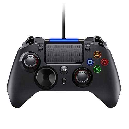 PICTEK 2019 Upgraded PS4 Controller, Wired Gaming Gamepad mit Dual-Vibration-Turbo und Trigger-Tasten für Playstation 4/ Playstation 3/ PC (Windows XP/ 7/8/ 8.1/10)/ Android/Steam, Schwarz