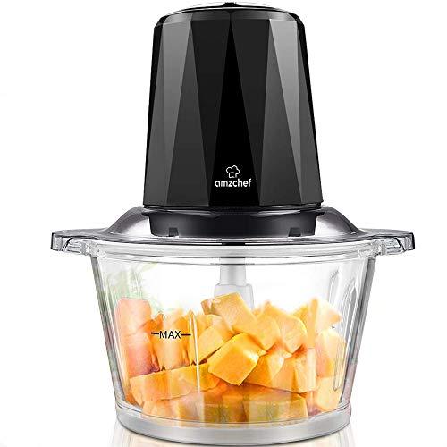 Amzchef Zerkleinerer Elektrisch mit 2 Geschwindigkeitsstufen, Bremsfunktion, 1,8L BPA Frei Glasbehälter für Fleisch, Gemüse, Obst und Nüsse, 4 Edelstahl-Messer, 300W Multi-zerkleinerer