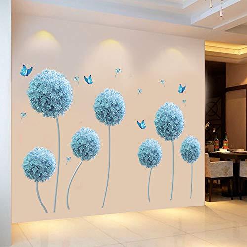 Schmetterling fliegen in blau Löwenzahn Schlafzimmer Wandaufkleber PVC DIY Blumen Wandtattoos für Wohnzimmer Schlafzimmer Dekoration -