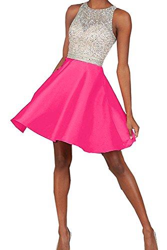 Toscane mariée chic abendkleider forme de cœur court robe de soirée en chiffon à cocktail Pink-1