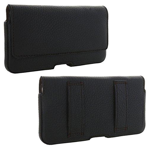 XiRRiX Leder Quer Handy Gürteltasche 1.3 Gürtelschlaufen - 3XL für Huawei P9 / P10 / P8 Lite 2017 - Honor 5c 6a - Xcover 4 - Tasche schwarz